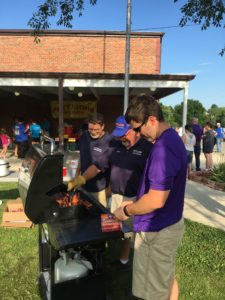 cooking hot dogs at south harrison elementary orientation night